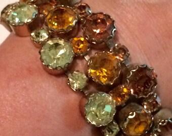 SALE! Vintage rhinestone bracelet fall colors unsigned bold statement big stones