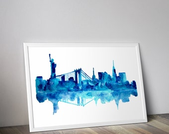 New York City Skyline, NYC print, cityscape painting, city skyline