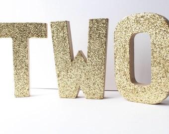 Gold Glitter Letters, Paper Mache Letters, Gold Letters, Birthday Party Decor, Wedding Decor, Gold Paper Mâché Letters