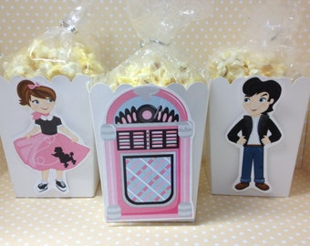 50's Sock Hop Party Popcorn or Favor Boxes