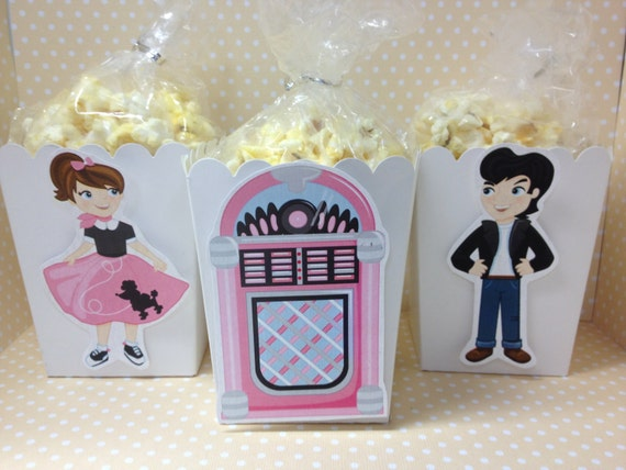 50 S Sock Hop Party Popcorn Or Favor Boxes
