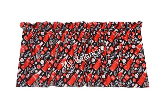 Items similar to Coca Cola curtain valance. Matching panels and throw pillow covers available ...