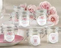 Personalized Rustic Bridal Shower Favor Jars (Set of 24)