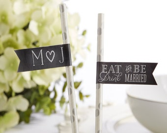"Personalized Straw FLAGS (""Eat Drink & Be Married) Set of 25"