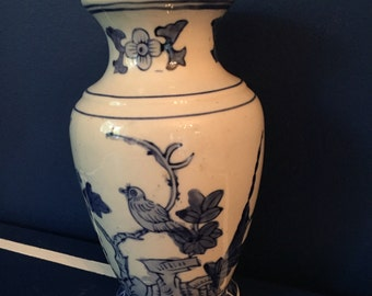Blue and White Chinoiserie Vase Bird Motiff