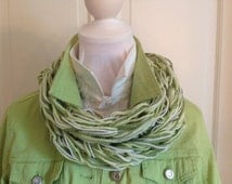 Green knit scarf, knitted green scarf, knitted woman scarf, handmade woman scarf, two color scarf, green white infinity scarf, knitwear