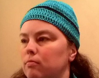 Turquoise and Black Beanie