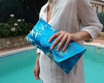 BLUE and GOLD CLUTCH bag, blue clutch purse, slim clutch bag, oriental clutch style, standout accessory