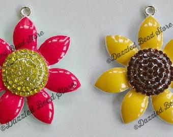 49mm x 45mm Rhinestone enamel metal FLOWER pendant