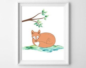 Fox Art Print, Nursery Print, Woodland Nursery Art, Cute Fox Decor, Wildlife Print, Instant Download