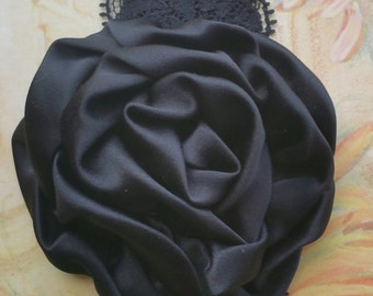 Black Satin and Lace Rosette Flower Headband