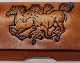 Running Horses Embossed Leather Cell Phone Case CPC 515
