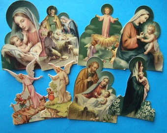 8 Die Cut Holy Card paper statues 1940's Catholic Guardian Angels Blessed Virgin and Nativity statuette pictures