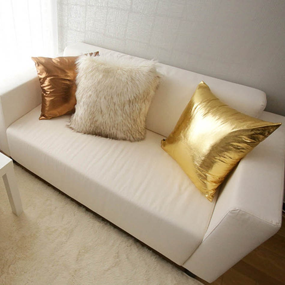 Throw Pillows Gif : Gold Metallic Decorative Square Throw Pillow Cover Cushion