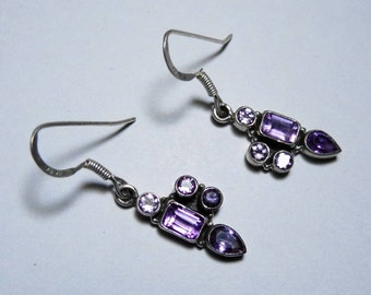 Beautiful 925 Sterling Silver Handmade Amethyst Earring Purple Color Small Light Weight Fabulous Women Desire at low Price