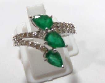 Stylish Emerald Daimond Sterling Silver 925 Handmade Beautiful Ring  Fabulous Awesome  3 Pear Shape Vero Moda F21