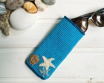 Crochet case for glasses, Light Blue Glasses Case. Sunglasses  Case. Eyeglasses Holder. Knitted Glasses Case.