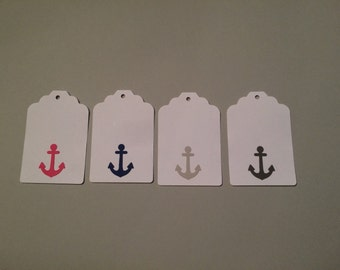 24 pink grey and blue anchor gift tags, thank you tags, favor tags, wishing tree tags, baby shower, wedding shower, nautical party, DIY tags