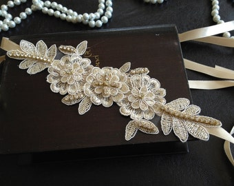 Wedding Headband, Bridal Hair Accessories, Wedding Headpiece, Champagne Lace, Gold, Rhinestone