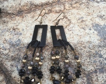 Patina metal w/precious stones earrings
