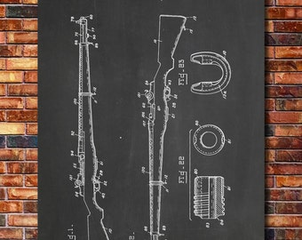 M1 Garand Rifle Patent Print Art 1932