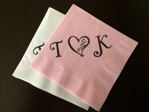 items similar to personalized napkins monogrammed initials hearts napkins engagement party. Black Bedroom Furniture Sets. Home Design Ideas