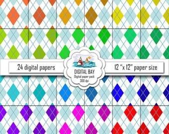 """ARGYLE - Digital paper pack – Instant download - Scrapbook Paper – Digital scrapbook - 12"""" x 12"""" - Commercial use –Digital background"""