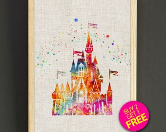 Disney Castles Print, Sleeping Beauty Castles Print, Disneyland Poster, Watercolor Painting, Home Decor, Wedding Gifts -FREE Shipping- 92s2g