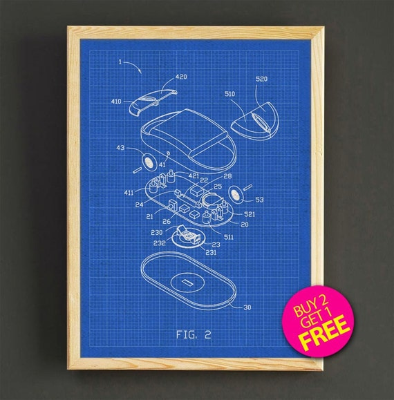 Computer Mouse Patent Poster Computer Mice Blueprint Art Print