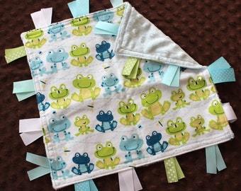 Custom Personalized Tag Minky Sensory Ribbon Blanket Lovey- Frogs and Minky Dot