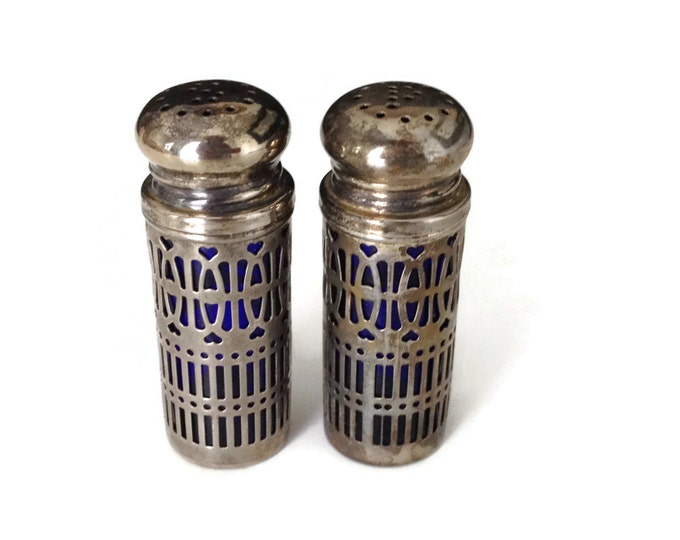 Salt and Pepper Shakers, Silverplated Shakers, Cobalt Blue Shakers, UK Patent 1014132, Made in Hong Kong, Vintage Dining