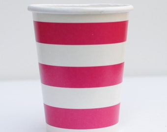 Fuchsia Pink Striped Cups Pack of 12