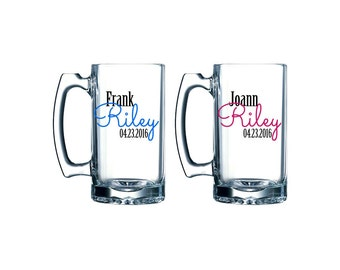 Personalized beer mug pair- bride and groom glasses - wedding toast - bridal shower gift ideas - First Name / Last Name / Date
