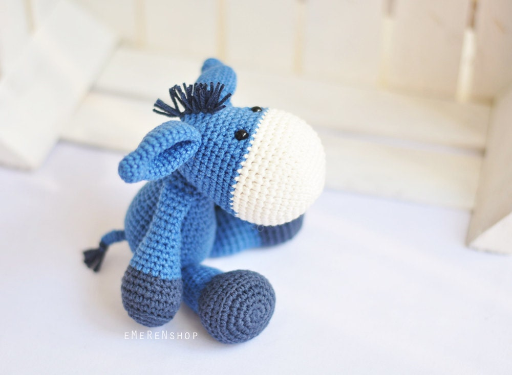 Blue Crochet Amigurumi Donkey Handmade amigurumi donkey an