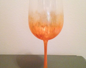 Fire painted glitter wine glass