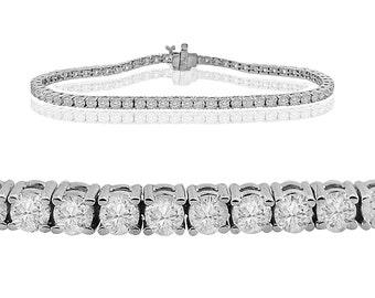 4.00ct Round Brilliant Diamond 14k White Gold Ladies Classic Tennis Bracelet 7 Inch