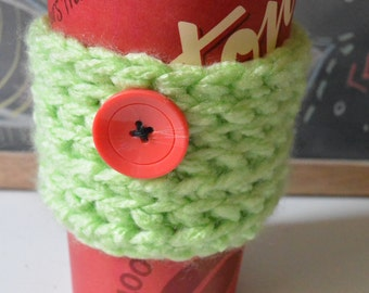 Mint Cup Sleeve, Crochet Coffee Cup Sleeve, Mug Cozy With Button