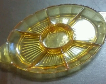 Art Deco Amber Sectioned Nut Bowl