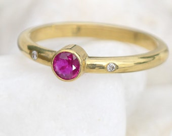 Ruby and Diamond Engagement Ring - Eco Friendly 18k Yellow or White Gold - Handmade to size
