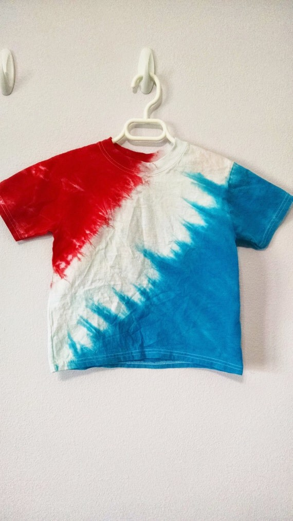 4t Red White And Blue Tie Dye T Shirt By Keeblycreations