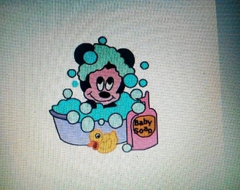 Mickey Mouse bath machine embroidery