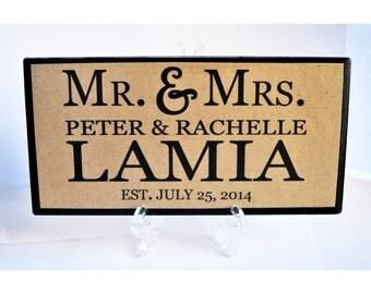 Newly Weds, Husband and Wife, Spouses Handmade Custom Plaque