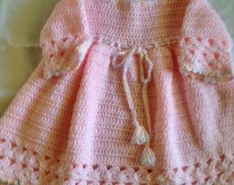 Pretty in Pink Crocheted Dress & Hat