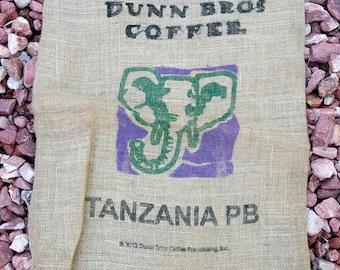 Burlap Coffee Bag - Gunny Sack - Dunn Bros Coffee Wall Art Rustic Decor - Africa Elephant - Upholstery Fabric - Coffee Home Decor Gift 20