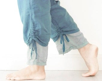 Comfy Cotton Pants with Drawstring in Blue