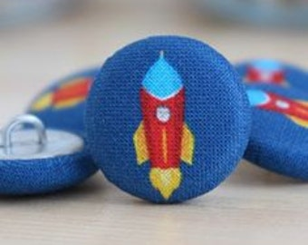 Fabric Covered Buttons - Rocket on Navy - 6 Medium Fabric Buttons