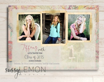 Tiffany Graduation Announcement - Tan, Beige, Neutral, Trendy, Class of 2016