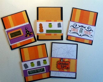 Set of 5 Blank Greeting Cards - Halloween