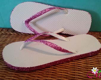 Glitter Flip Flops, (Your Choice of Color), Bridesmaid Shoes, Pink Flip Flops, Gold Shoes, Pink Flip Flops, Pink Glitter Shoes
