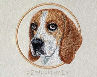 Beagle Emblem - machine embroidery design